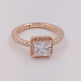 Wholesale European Rings - Rose Gold Plated & 925 Sterling Silver Ring Timeless Elegance European Pandora Style Jewelry Charm Ring Gift 180947CZ