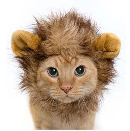 Wholesale Lion Winter Hat - Hat For Dogs Cats Emulation Lion Hair Mane Ears Head Cap Autumn Winter Dress Up Costume Muffler Scarf Pet animal Hats G846
