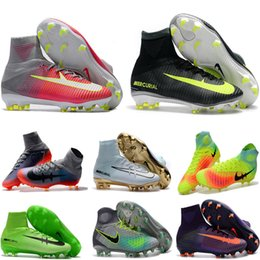 Wholesale Ground Yellow - Children Firm Ground Soccer Shoes Kids Soccer Cleats CR7 Cristiano Ronaldo Men Mercurial Superfly FG TF High Top Youth Boys Football Boots