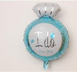 Wholesale Blue Diamond Decoration Wedding - I DO Alphabet air balloons birthday Party wedding Decoration Large diamond ring Mylar Foil Balloon pink Balloons home DIY Supplies wholesale
