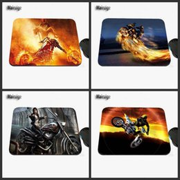 Wholesale Custom Motorcycle Coolers - Cool Motorcycle Racer's Stunt Show Custom Printed Design for a Sliding Rectangular Rubber Laptop Computer Game Mouse Pad