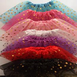 Wholesale Toddler Dance Dresses - Baby Girls Gold Polka Dot Tutu Skirt baby Tutus Dress Kids Skirts Toddler Skirts kids ballet dance tutu pettiskirt 17-61
