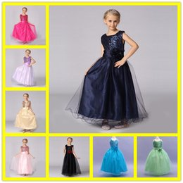 Wholesale Embroidery Designs For Kids - Kids Dresses For Girls 2- 14 Years 2017 New Design Flower Girl Dresses For Weddings Child Birthday Party Gown Embroidery Organza