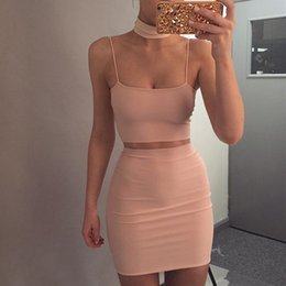 Wholesale Spaghetti Strap Skirt Top - 2017 White Black Apricot Pink Spaghetti Straps Bandage Tops And Skirts Sexy Bodycon 2 Piece Set Women crop top and skirt set