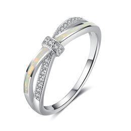 Wholesale Cross Diamond Ring - Brand New 925 Sterling Silver Opal Rings Cross Design Cubic Zirconia Diamond Rings Fashion Wedding Rings For Women