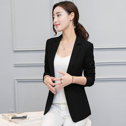 Wholesale Korean Long Blazers For Women - Slim Suit Jacket Women Blazers Long Sleeve Korean Suit For Women Blazers Elegant Ladies Tops Giacca Donna Suit Jacket 60N0208