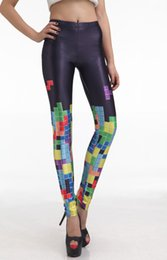 Wholesale Women Tetris - Wholesale- Plus size S-4XL! Wholesale+Drop Shipping! 2013 Leggings For Women Colorful Tetris Digital Printing Elasticity Sale Pants Elastic