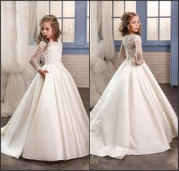 flower satin dresses covered buttons Promo Codes - Elegant Long Sleeves Satin Flower Girl Dresses For Weddings with Covered Buttons Back Appliqued Custom Made Girls Pageants Gowns BA5126