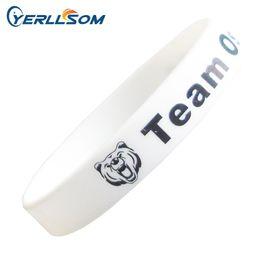 Wholesale Charm Bracelet Custom - 2000PCS lot High quality custom debossed and ink fileld rubber silicone bracelets YD073101