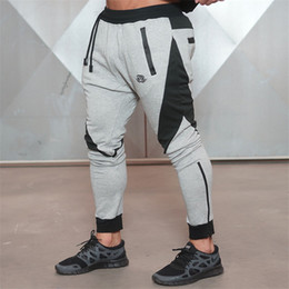 Wholesale fitness engineering - Wholesale-2016 New Gold Medal Sports Fitness Pants, Stretch Cotton Men's Fitness Jogging Pants Body Engineers Jogger Outdoor Slim-type