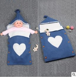 Wholesale Hoody Sweeter - Large Size Summer Baby Sleeping Bags Sweet Heart Newborns Swaddle Bag Handmade Cotton Stroller Hoody Envelope Knit Blanket With Buttons