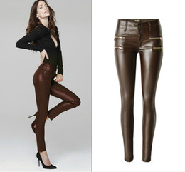 Wholesale leather pants zippers - Wholesale- Low Waist PU Skinny Jeans Women High Quality Fake Zippers Coated Pantalon Femme Washed Coffee Imitation Leather Vaqueros Mujer
