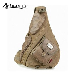 Wholesale Vintage Style Large Canvas Backpack - Wholesale- large canvas with leather chest bags for men Vintage casual male sling backpack Black Army green Khaki Free shipping PB36