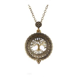 Wholesale Womens Necklace Pendants - Long Gold Chain Necklace Magnifying Locket Pendant Necklace Tree Of Life Best Wishes Gift for Mens and Womens 16N0325