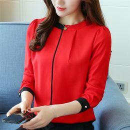 Wholesale New Korean Women Fashion Blouse - 2017 New Korean Autumn Chiffon Shirt Fashion Stand Collar Long Sleeve Blouse Slim Underwear Women Blouses