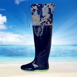 Wholesale Knee High Men S Boots - Wholesale- Outdoor men's waterproof planted fishing wading rainboot shoes knee Boots high barrel catch fish pant boots dig lotus trousers