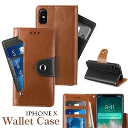 Wholesale Galaxy Note Flip Covers - Customized Wallet Case PU Leather Flip Cover Case for iPhone X Card Slot Kickstand Case for iPhone 8 iPhone 7 Galaxy Note 8 with OPP Package