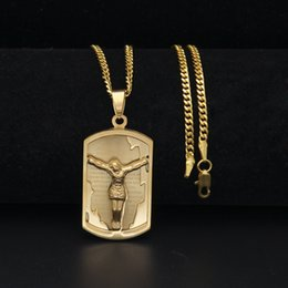 Wholesale Bible Dogs - Mens Hiphop Stainless Steel Christian Bible Lords Prayer Jesus Piece Pendant Necklace Carved Dog Tag Pendant Hip Hop Jewelry