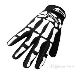 Wholesale Cycling Skeleton Gloves - Punk Skull Bone Full Finger Cycling Gloves Breathable Damping Non-slip Skeleton Warm Gloves free shipping