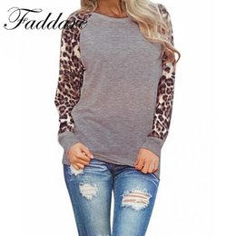 Wholesale Leopard Xl - Casual Style Women Loose T-Shirt Autumn Winter Women Leopard Stitching O-Neck Long Sleeve Tops T-Shirt Women Clothing