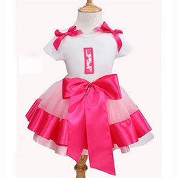 Wholesale Light Coloured Prom Dresses - Custom prom dresses Pink Birthday Dress for Kid Summer Short Sleeve Cotton Baby Girls Clothes Sets childrens party dresses bubble skirt tutu