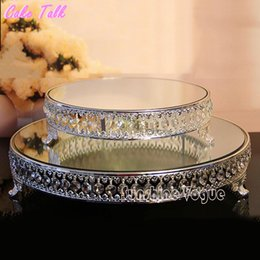 Wholesale Crystal Cake Stand Set - 18 inch Crystal beads cake stand silver gold plated mirror surface dessert stand 12'' wedding party table decoration baking tool