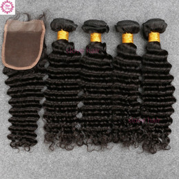 Wholesale Brazillian Natural Hair - 8A Mink Brazilian Deep Wave With Closure 4 Bundles Curly Wavy Human Hair With Lace Closures Virgin Brazillian Hair And Closure
