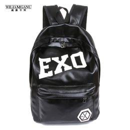 Wholesale Korean Boys Hot - Wholesale- WILIAMGANU 2017 Hot Women's Colorful Pu Ackpacks Rucksacks Men Women Student School Bags for Girl Boy Casual Travel EXO Bags