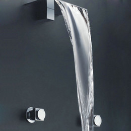 Wholesale Classic Brass Bathroom Faucets - BAKALA Free shipping Wall mounted waterfall bathroom basin faucet mixer taps brass chrome finish LT-301B