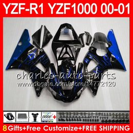 Carrozzeria per YAMAHA YZF1000 YZFR1 00 01 98 99 YZF-R1000 Corpo 74HM19 Fiamme blu YZF 1000 R 1 YZF-R1 YZF R1 2000 2001 1998 1999 Kit carenatura cheap yamaha yzf r1 fairing 99 da yamaha yzf r1 rivestimento 99 fornitori