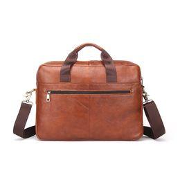 "Wholesale Lawyers Briefcase - 2017 Fashion Genuine Leather Men Briefcase Cowhide Men's Messenger Bags 14"" Laptop Business Bag Luxury Lawyer Handbags MB019"