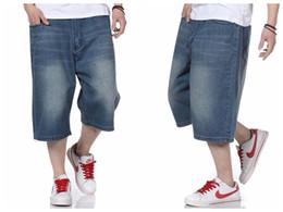Hip hop baggy jeans kurz online-Großhandel-Baggy Pants Sommer Männer Hip Hop Jeans Shorts Skate Jeans Shorts für Männer Plus Size 30-46 FS4936