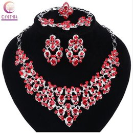 Wholesale Bead Ring Patterns - Top Exquisite Silver Colors Crystal Embedded Scarf Pattern Necklace Bracelet Earring Ring African Beads Jewelry Set