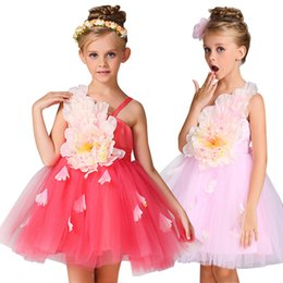 Wholesale Elegant Baby Bows - Elegant Baby Girls Dress 3D Big Flowers Tulle Kids Party Princess Dress Summer Sleeveless Girl Wedding Dresses Ribbons Bow