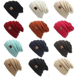 Wholesale Wholesale Adult Christmas Hats - Women Winter Beanies Men Female Hat Hot Europe CC letter Label Knitting Cap Sleeve Cap Outdoor Warm Hat b908