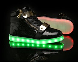 Wholesale Light Up Shoes For Adults - 2017 Shining 2 Colors Luminous Sport LED Shoes men with Lighted for Adults Light Up Shoes led Unisex Glowing USB Charging Shoes