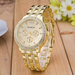 Wholesale Geneva Metal - Fashion Luxury Roman Numerals Dial Watch Geneva Crystal Watch Male Female Casual Metal watchband Quartz Wristwatch Relogios Feminino Clock