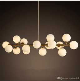 Wholesale Fluorescent Light Globe - North Europe LED modo chandeliers lighting DNA pendant lights 16 18 Globes glass lampshade chandelier LED lighting fixture