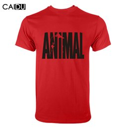 Wholesale Wholesale Fitness Clothing For Men - Wholesale- Trends in 2016 fitness cotton brand clothes for men Animal print tracksuit t shirt muscle shirt bodybuilding Tee large XXL
