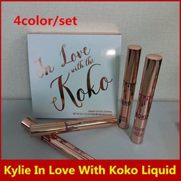 Wholesale Love Doll Sizes - Hot Kylie In Love with the KOKO matte Liquid Lip collection 4pcs set Lipstick Doll Sugar Plum Bunny Baby Girl