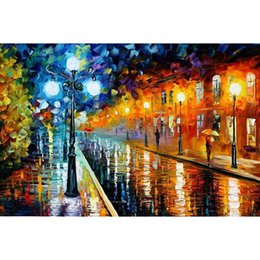Wholesale View Landscape - 5D Diamond Painting Purely Hand Made DIY Diamond Painting Mosaic Cross Stitch Rainy Night Street View Paintings Home Decor