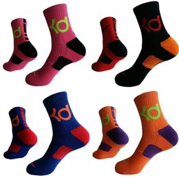 Wholesale Mens Chiffon - 3 Pairs Lot mens kevin durant cotton thick bottom towel Deodorant socks high KD elite basketball football soccer sports crew sock