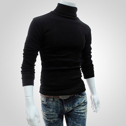 stitches clothing Promo Codes - Men Bottoming Tops Fall Slim Sweaters Warm Autumn Turtleneck Sweaters Black Pullovers Clothing For Man Cotton Knitted Sweater Male Sweaters