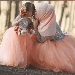 Wholesale Christmas Baby Pageant Dress - Cute Muslim Flower Girls Dresses For Weddings Sparkly Sequin Tulle Ball Gowns Toddler Cupcake Floor Length Baby Pink Girls Pageant Dresses