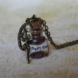 Wholesale Wholesale Glass Bottle Pendants - 12pcs lot Purple Fairy Dust Necklace Purple Pixie Dust Fantasy Jewelry Fairy Charm Glass Bottle Pendant