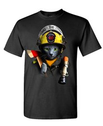 Wholesale Firefighter T Shirts - FIREFIGHTER CAT 2017 Adult new High Quality 100% Cotton men's T Shirt cheap sell Free shipping