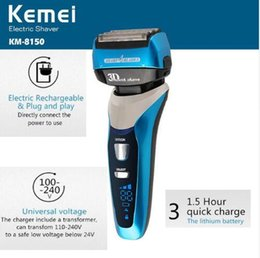 Wholesale Face Displays - Kemei8150 4-Blade Cutting System LCD Display Electric Shaver Razor 1.5 Hour Quick Charge Electric Shaver 100-240v Fully Washable