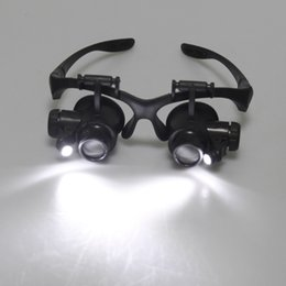Wholesale Jewelry Repair Glasses - On Sale Magnifying Resin Lupa 10X 15X 20X 25X Eye Jewelry Watch Repair Magnifier Glasses With 2 LED Lights New Loupe Microscope