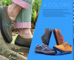 Wholesale Net Hard Drive - Men Genuine Leather Summer Casual shoes Breathable Soft Driving Men's Handmade chaussure homme Net Surface Loafers