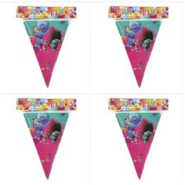 Wholesale Decorations For Kids Parties - Banner Trolls Moana Theme Flag Party Decorations Baby Happy Birthday Wedding Event Party Supplies for Kids DHL Free Shipping